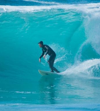 Surfer on Gwithian beach