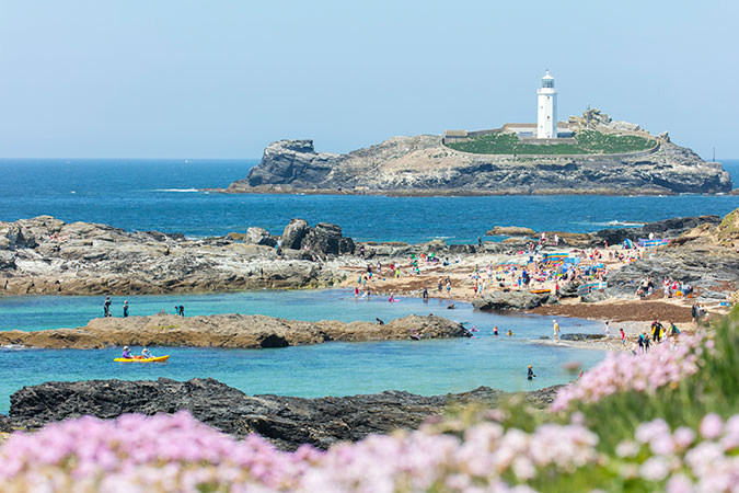 Godrevy beach and lighthouse